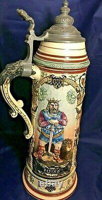Reinhold Hanke German 3 Liter Charlemange Beer Stein withPewter Lid