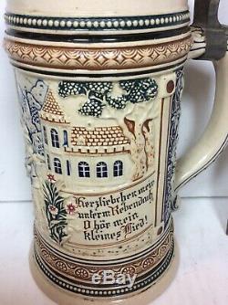 Reinhold Merkelbach RM Geschutzt 1/2L German Beer Stein Tankard 1149 Pewter Lid