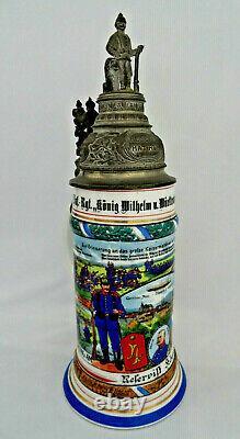 Reserve Hat Ruh German Lithophane Regimental Beer Stein Soldiers with Pewter Lid