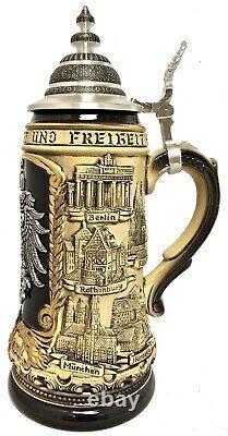 Rustic Deutschland Pewter German Eagle with Cities LE German Beer Stein 1 L