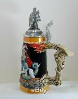 Rustic Medieval Knight Fighting Dragon with Dragon Lid LE German Beer Stein. 5 L