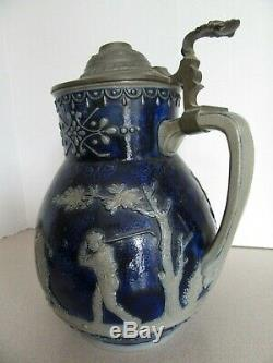 S. P. Simon Gerz German Master Beer Stein Pitcher Golfers Stoneware Golf 040