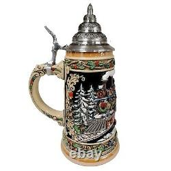 Santa Claus with Train LE German Stoneware Christmas Beer Stein 1L Germany