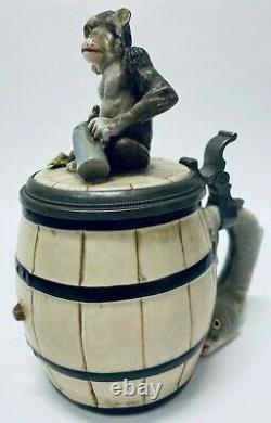 Schierholz & Sohn 91 Monkey On Barrel Antique German Beer Stein Herring Handle