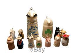 Schultz and Dooley German Beer Steins With 11 Mini Utica Club Beer Figurines