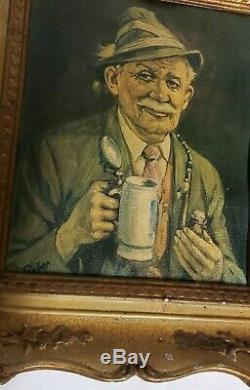 Signed Täuber German Oil Painting Old Man with Beer Stein and Pipe Framed