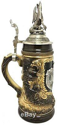 St. George the Dragon Slayer with Pewter Dragon Lid LE German Beer Stein. 5 L