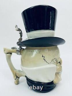 Stahl Vintage Character German Beer Stein Skull with Tophat Gentleman Skull Gift