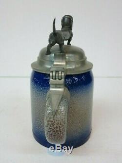 Stoneware German Beer Stein Blue Salt Glaze Dachshund Pewter Lid (Mettlach Era)
