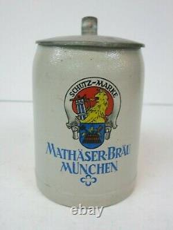 Stoneware German Beer Stein Mathäser-Bräu München Brew Oktoberfest Mettlach Era