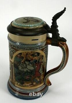 Super Rare Mettlach 2394 Geschutzt Beautiful German Lidded Musical Beer Stein