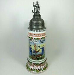 Tall German Navy'Great War' Beer Stein AK Kaiser 483 C Germany