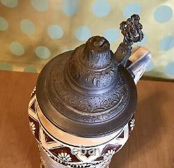 The Hunters Homecoming 2 Liter Vintage German Ceramic Beer Stein /w LID