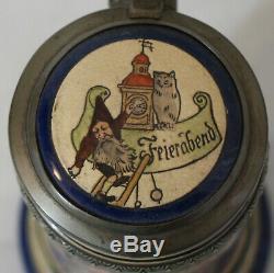 Thewalt 1/2L Lindenwirtin German beer stein Antique # 329 AJT Musterschutz