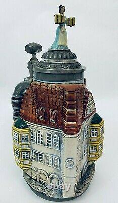 Thewalt German Hofbrauhaus HB Figural 3D Beer Stein Barmaid Finial Keg Thumblift