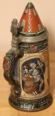 Thirsty Rider by Mettlach 1 liter German beer stein antique # 2382 Horse