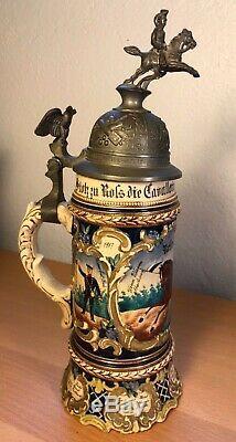 Uhlan Regimental German Cavalry Military Beer Stein 1907-1910, Horse & Eagle