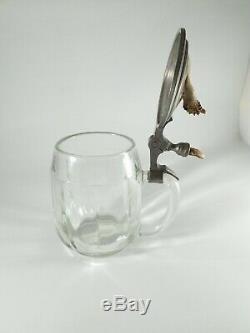 Unique Antique German Glass Beer Stein Inlaid Deer Skull Plate. 5 L