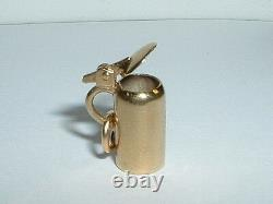 VINTAGE 14k YELLOW GOLD 3D GERMAN BEER STEIN CHARM opens up