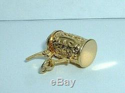 VINTAGE 14k YELLOW GOLD MUNCHEN GERMAN BEER STEIN PENDANT CHARM it opens up