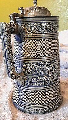VINTAGE GERMAN BEER STEIN Blue Salt Glaze Nice Condition with lid
