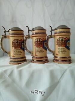 VINTAGE World War II WW2 Service Members German Beer Steins Lot of 3