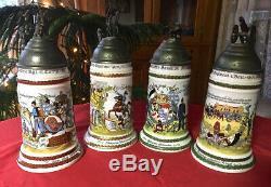 VTG Commemorative GERMAN/ Regimental BEER stein MUG 4 LOT// Porcelain/ Lithopane