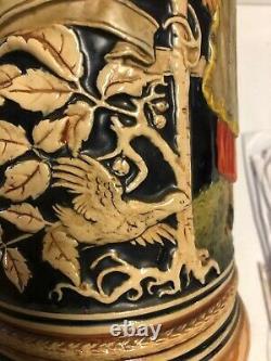 Very Large 3 Liter Vintage German Beer Stein PitcherWoman &Man/Rifle #2033ST78