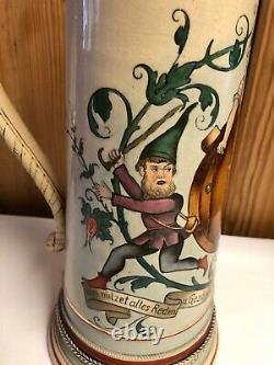 Very Large Vintage German Bock Beer Stein/Pewter LidGoat & Gnomes #1189ST70