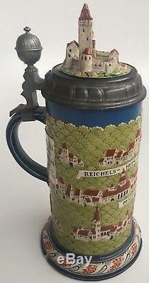 Very Rare German Mettlach Gersprenz Beer Stein Studentika Villeroy Boch 1890