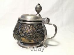 Very unusual Antique German Beer Stein Islamic copper pot sterling Silver 19th C
