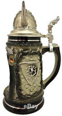 Viking Warrior in Grotto with Pewter Viking Helmet Lid LE German Beer Stein. 5 L