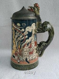 Villeroy & Boch Mettlach 1786 German Beer Stein St Florian Dragon Firefighter