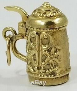 Vintage 14K Yellow Gold GERMAN BEER STEIN MUG Charm/Pendant opens