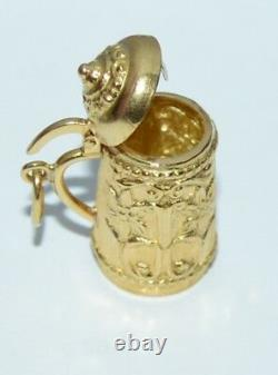 Vintage 18k Yellow Gold 3D German Beer Mug Stein Charm Pendant top opens