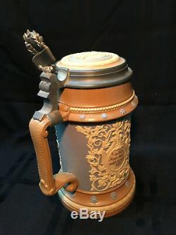 Vintage 1900's Mettlach Lidded German Beer Stein in Great Condition