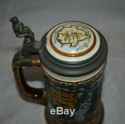 Vintage 1/2 Liter Mettlach # 1932 Freund Metal Lidded German Beer Stein