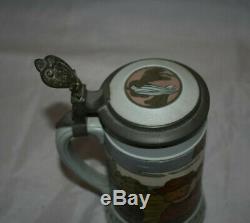 Vintage 3/10 Liter Mettlach # 833 Metal Lidded German Beer Stein