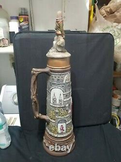 Vintage Antique German Beer Stein 24 Handpainted Musketeer Castle RARE PIEC