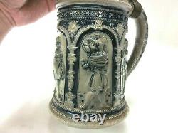 Vintage Antique Relief Hand Painted West German Lidded Beer Stein Carved 3D