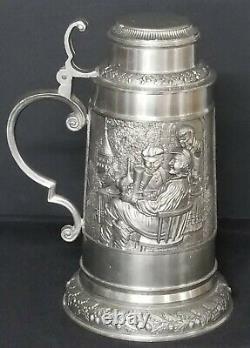 Vintage BMF Zinn 95% German Pewter Beer Stein Made in Germany