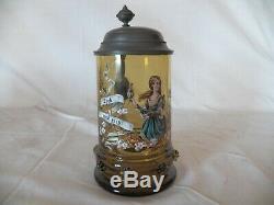Vintage Enameled Amber Glass Beer Stein German Late 1800's Pewter Lid 1/2L