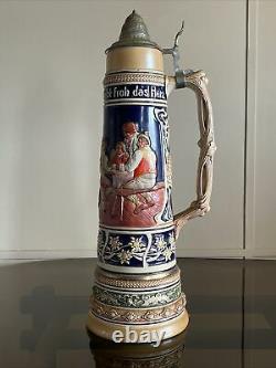 Vintage German Beer Lidded Stein Extra Large 21 1/2. Huge & Massive Stein