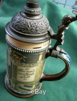Vintage German Beer Stein 2271 Geschutzt 1055 Drunk Soldier Hunter 1/2L
