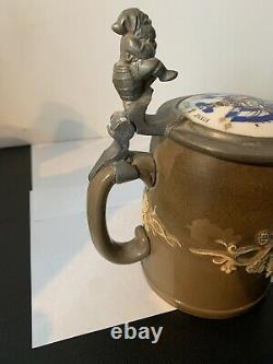 Vintage German Beer Stein Mettlach Villeroy & Boch Vivat Paulus LOOK! ESTATE