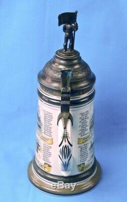 Vintage German Germany Karl Rau Beer Lidded Stein Mug Soldier Navy Naval Theme