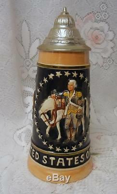Vintage German Lidded Beer Stein Mug USA Bicentennial