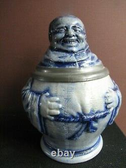 Vintage German Monk Character Beer Stein Fat Man, Old Pewter Thumb Lift, RARE