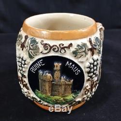 Vintage German Punch Bowl Beer Wine Tureen Set 10 Mugs Steins Castles Reinhold