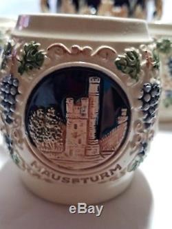 Vintage German Punch Bowl/Beer/Wine Tureen with13 Mug/steins Castles Reinhold